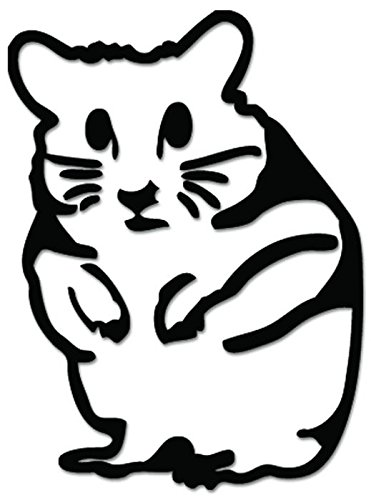 JDM Hamster Rodent Funny Vinyl Decal Sticker For Vehicle Car Truck Window Bumper Wall Decor - [6 inch/15 cm Tall] - Gloss WHITE Color