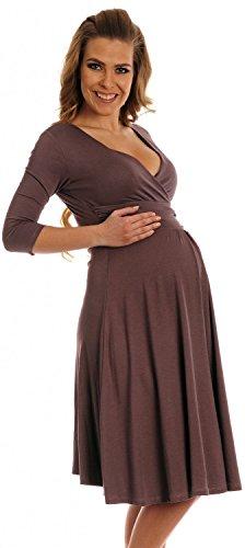 Happy Mama Damen Umstandskleid Festlicher Stretchkleid V-Ausschnitt 282p (Cappuccino, 38)
