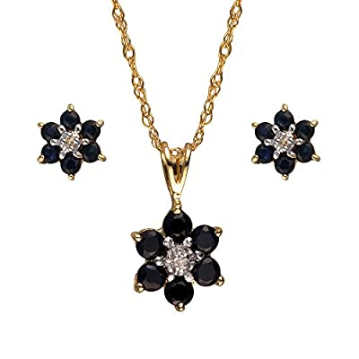 Ivy Gems 9ct Yellow Gold Sapphire and Diamond Cluster Earring and Pendant Jewellery Set with 46cm Chain