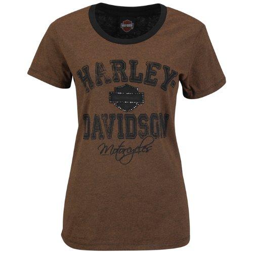 Harley-Davidson® Womens Motor in Motion Willie G Skull Back Brown Short Sleeve T-Shirt (Large)