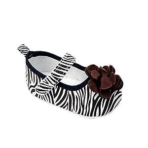 Froomer Zapatos Flor de Niñas Raya Cebra Velcro Suave con Suela Zapato Infantil Preandador Primeros Pasos en BebeHogar.com