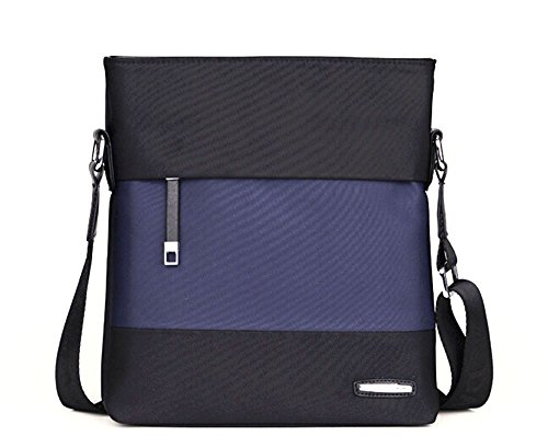 Fansela discount duty free Fansela(TM) Mens Leisure Travel Office Vertical PU Leather Cross Body Bag Black And Blue