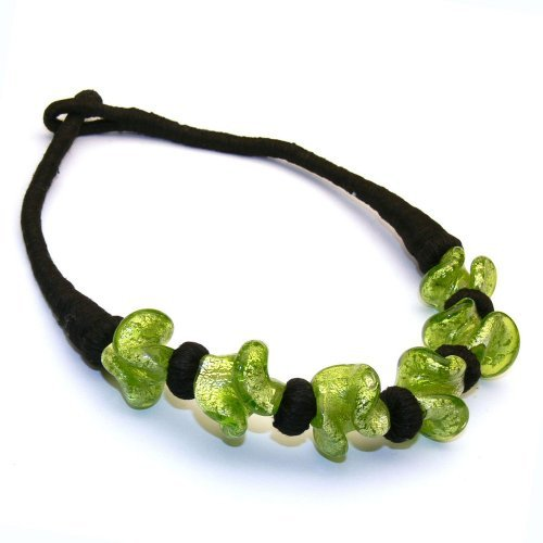 Franki Baker Green Glass Bead Choker (15.5