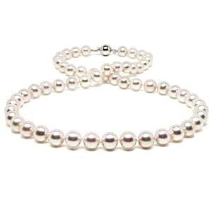 HinsonGayle Handpicked 7.5-8.0mm White Cultured Freshwater Pearl Necklace (Sterling Silver)