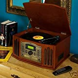 Retro Nostalgic CD Music Centre Record Player with DAB Radio (Dark Wood Veneer)by Digitel Technology