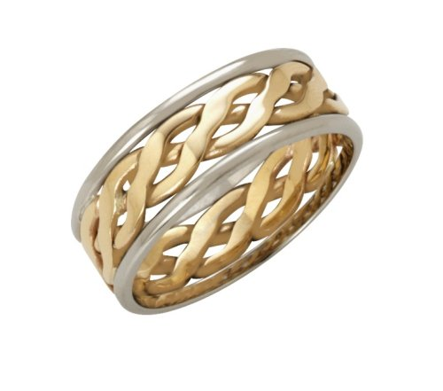 Wedding Ring, Celtic Style 9 Carat Two-Colour Gold, 6mm Band Width
