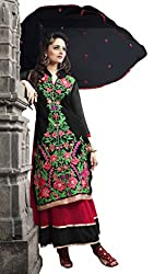 Atisundar Womens Faux Georgette Anarkali Dress Material (5189_32_5008 -Black And Red -Free Size)