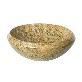 Decolav 1625-M-FOS 16-Inch Round Tapered Rim Stone Vessel, Fossil Marble