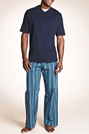 Pure Cotton V-Neck Striped Pyjamas [T07-2875-S]