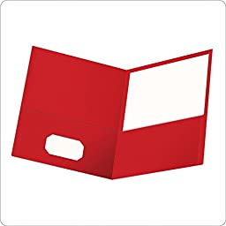 2 BOXES: Oxford Twin Pocket Folders, Letter Size, Red, 25 per Box (57511)