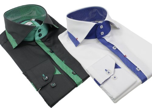 Mens Italian Big Collar Shirt Slim Fit White Blue Black Green Smart or Casual Premium Cotton