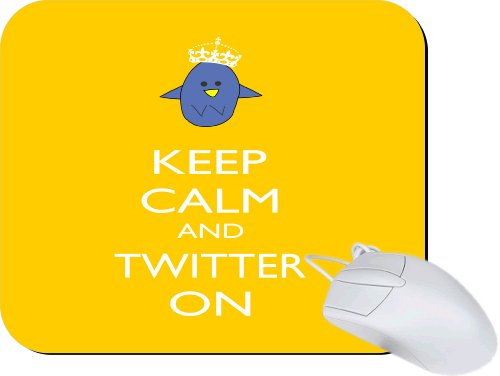 Rikki Knight Keep Calm and Twitter On Yellow Color Mouse Pad Mousepad – Ideal Gift for all occassions!