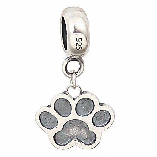 Hoobeads in argento Sterling 925 solido, impronte di cane con Charms, in stile europeo, Bracciale per ciondoli