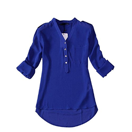 Minetom Donna Lunga Camicetta Tunique V-Collo Chiffon T-Shirt Top Ol Shirt ( Blu EU L )
