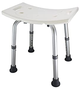 Ez2care Adjustable Lightweight Shower Bench, White