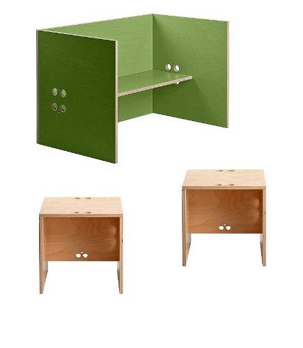Kindersitzgruppe – Kindermöbel – 2 Kinderstühle/Hocker + 1 Kindertisch/Bank. Tisch grün, Farbe Stühle frei wählbar. (Stühle/Hocker transparent, Tisch/Bank grün) bestellen