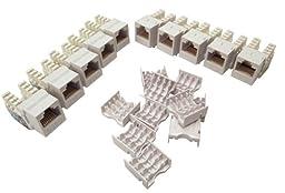 Shaxon BM703W810-10B,Category 6 Keystone Jack 10 Pack, RJ45 to 110 - White