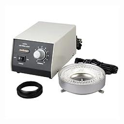AmScope LED-60M 60-LED Microscope Ring Light w Heavy-Duty Metal Control Box + Adapter