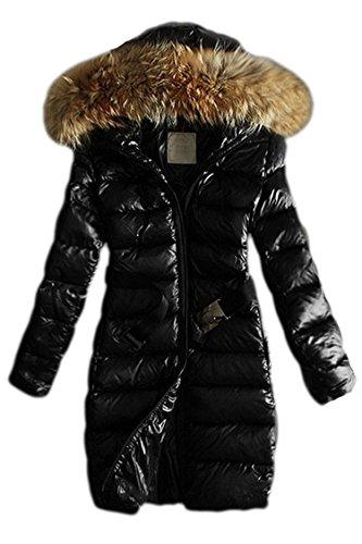 Pink Wind Lady'S Big Fur Collar Down Coats Long Glossy Puffer Jackets(Black,S)