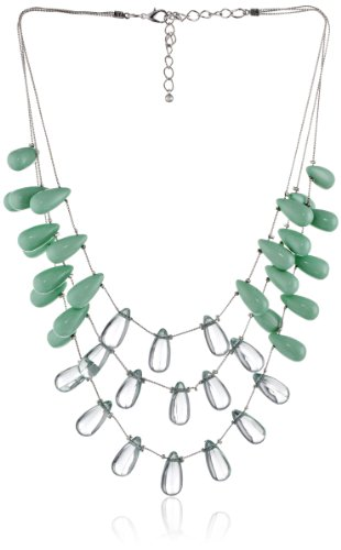 Puffed Teardrop Station Ons Shiny Silver Tone Chain Necklace