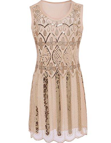 KAYAMIYA Women's 20S Sequin Bead Tassel Embroidery Clover Flapper Dress M Beige (Latin Dancing Costume Patterns)