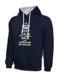 Keep Calm And Walk The Labrador Retriever Dog Navy Blue & Heather Grey Contrast Hoody