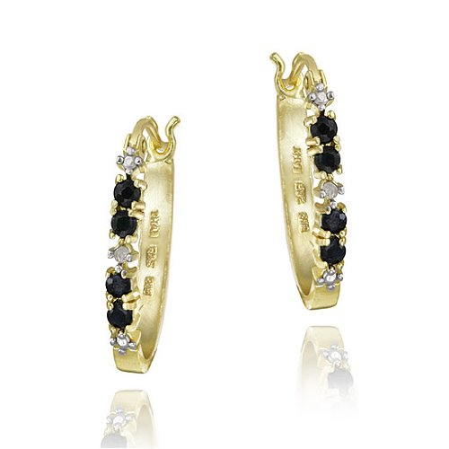 18k Gold over Silver Sapphire & Diamond Accent Hoop Earrings