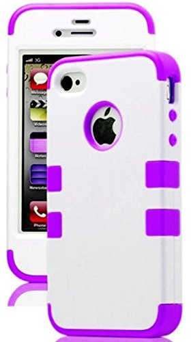 Mylife Purple And White - Flat Color Series (3 Piece Protective) Hard And Soft Case For The Iphone 4/4S (4G) 4Th Generation Touch Phone (Fitted Front And Back Solid Cover Case + Internal Silicone Gel Rubberized Tough Armor Skin) front-353845