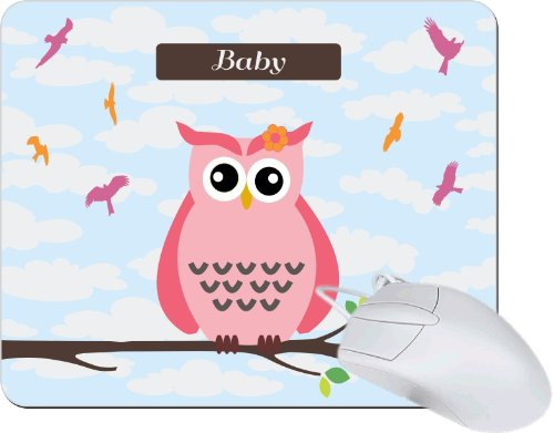 "Rikki Knighttm ""Baby"" Name - Cute Pink Owl On Branch With Personalized Name Tanpad Ultra Thin Mouse Pad Ideal For All Laptops, Notebooks, Macbook Air, Macbook Pro front-601317"