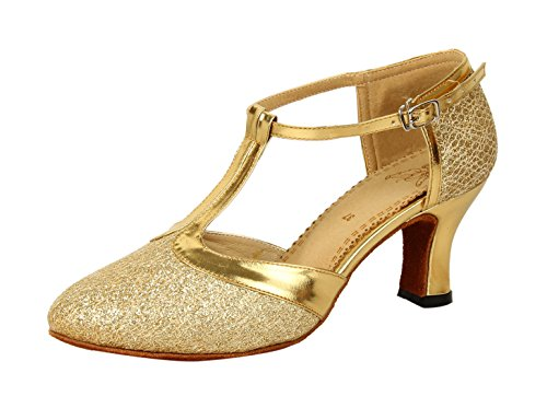 Honeystore Women's Latin Dance Closed Toe T Strap Glitter Mary Jane Dance Shoes Gold 8 B(M) US