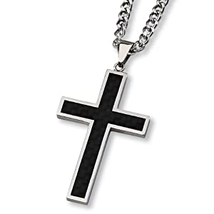 Black Carbon Fiber and Polished Stainless Steel Cross Necklace on 24 Inch Chain