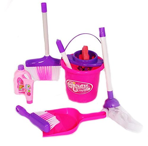 Dazzling Toys Little Girls Just Like Mom Cleaning Set. Set Includes Broom, Dust Brush, Pail and More (Purple Broom Set compare prices)
