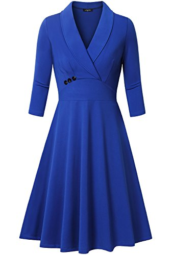 Dresses for Women Casual,Bebonnie Women Empire High Waist Ruffle Retro Deep-V Neck Formal Professional Pleated Wiggle Dresses Blue Medium (Old Dresses For Women compare prices)