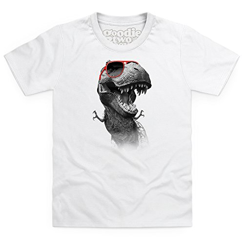 Goodie Two Sleeves Cool T-Rex T-shirt bimbi, Bimbi, Bianco, XS