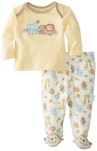 Vitamins Baby Baby-Boys Newborn Monkey And Friends 2 Pack Pajama Set, Yellow, 6 Months back-775891