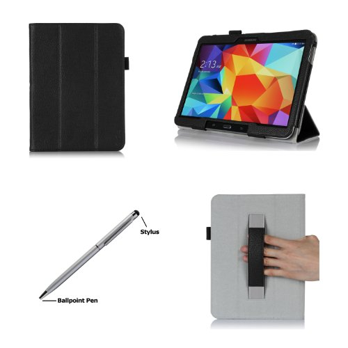 Procase Samsung Galaxy Tab 4 10.1 Case With Bonus Stylus Pen - Smart Cover Case With Stand For 10 Inch Galaxy Tab 4 Tablet (Sm-T530 / T531 / T535), With Auto Sleep/Wake Feature (Black)