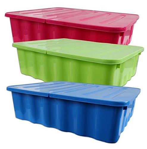 Aufbewahrungsbox-Unterbettkommode-Kunststoff-farbig-sortiert-klappbarer-Deckel-30-Liter-3-Stck