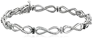 Sterling Silver Black and White Diamond Bracelet (0.05 cttw, I-J Color, I2-I3 Clarity)