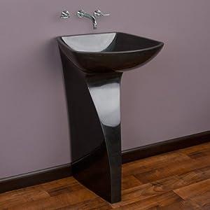 Alba Black Granite Pedestal Sink - - Amazon.com