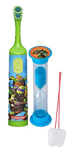 Teenage Mutant Ninja Turtles 2pc Bright Smile Oral Hygiene Set! Turbo Powered Spin Toothbrush & Brushing Timer! Plus