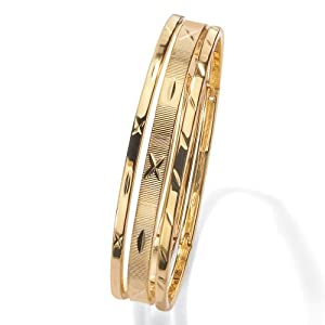 PalmBeach Jewelry 3-Piece Patterned Bangle Bracelet Set in Yellow Gold Tone