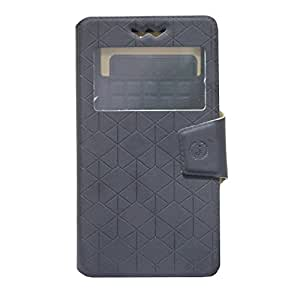 Jo Jo Cover Toto Series Leather Pouch Flip Case With Silicon Holder For IBall Andi 4.5h Black