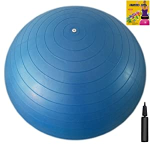 Fitness Ball: Blue, 29.5in/75cm Diameter, Includes 1 Ball +1 Pump + 1 Page Instruction Chart. No instructional DVD. (Exercise Gym Swiss Stability Ball)