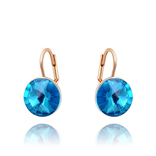 Duo La Elegant 18K Rose Gold Plated Blue Cubic Zirconia Charm Lady Hoop Earrings (Cubic Deep Freezer compare prices)