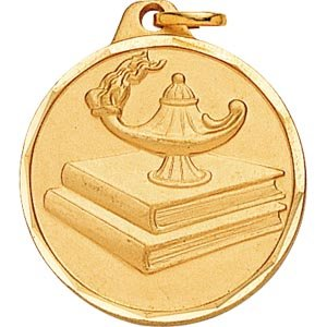 1 1/4 Inch Gold Lamp Of Learning Medal1 1/4 Inch Gold Lamp Of Learning Medal