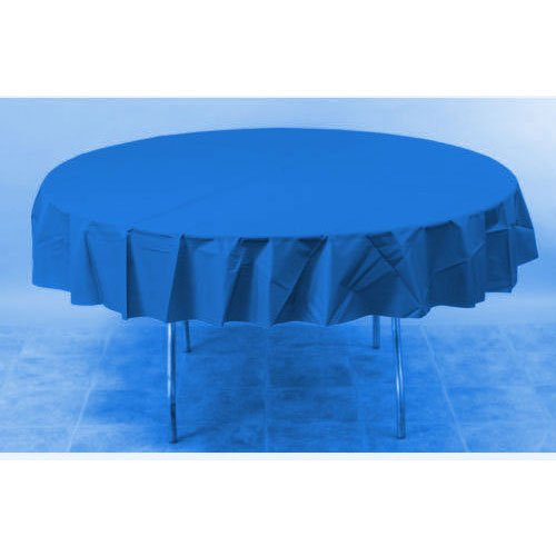 "Disposable Round Plastic Table Cover Fits 7' Round Tables, 84"", Marine Blue"
