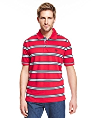 Blue Harbour Pure Cotton Triple Striped Slim Fit Polo Shirt