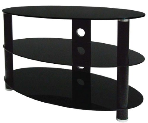 Black Curved Glass TV Stand for LED/Plasma/LCD TVs up to 37 inch
