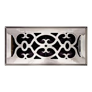 Accord APFRSNV412 Plastic Floor Register with Victorian Design, 4-Inch x 12-Inch(Duct Opening Measurements), Satin Nickel Finish