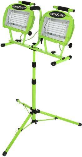 Designers Edge L-2005  Industrial 130-Watt(600-Watt Equivalent) Twin-Head Adjustable Work Light with Telescoping Tripod Stand, Fluorescent